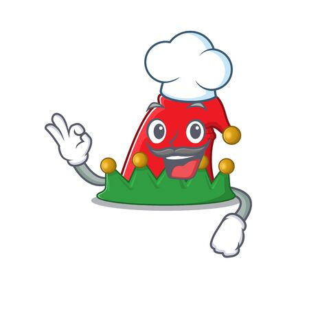 Happy Chef elf hat cartoon character with white hat. Vector illustration