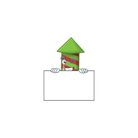 Grinning green stripes fireworks rocket cartoon character style hides behind a board. Vector illustration