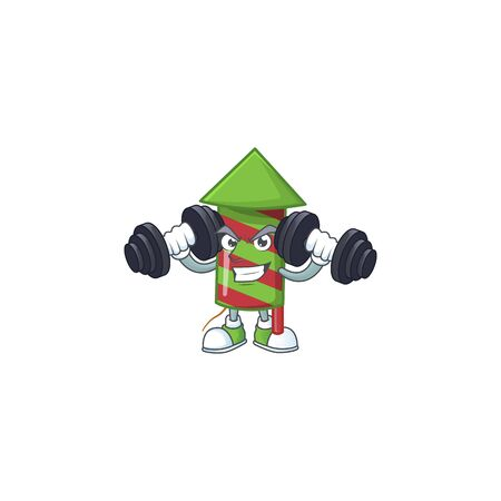 Fitness exercise green stripes fireworks rocket cartoon character holding barbells. Vector illustration Ilustração