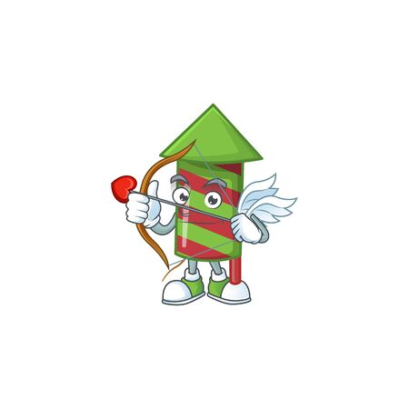 Cute green stripes fireworks rocket Cupid cartoon character with arrow and wings. Vector illustration Stock Illustratie