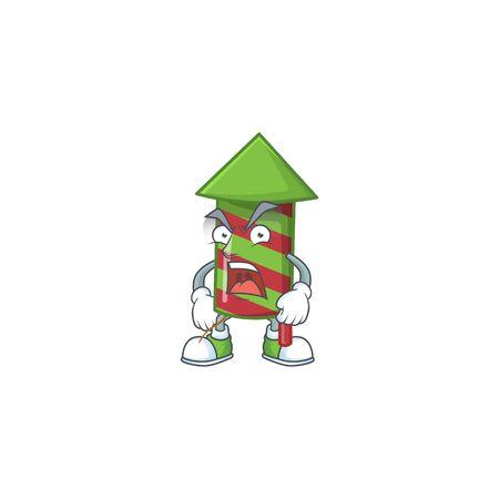 Mascot of angry green stripes fireworks rocket cartoon character design. Vector illustration Standard-Bild - 135293305