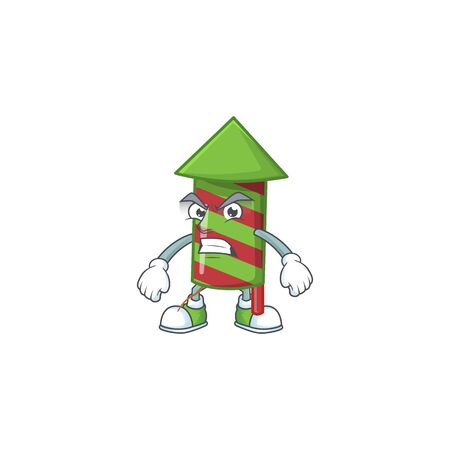 Green stripes fireworks rocket cartoon character style with angry face. Vector illustration Standard-Bild - 135293456
