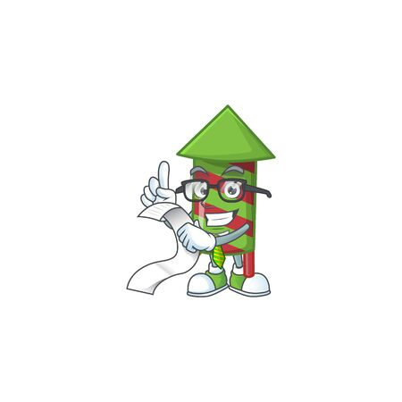 Cute green stripes fireworks rocket cartoon character with menu ready to serve. Vector illustration