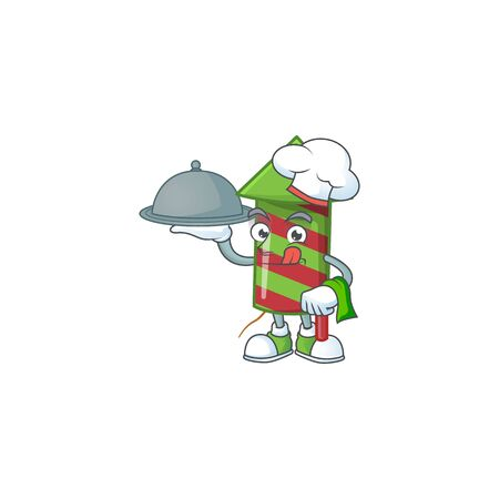 smiling green stripes fireworks rocket as a Chef with food cartoon style design. Vector illustration