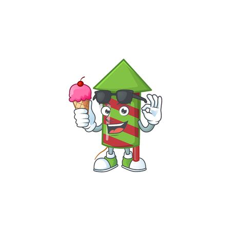 Mascot character featuring green stripes fireworks rocket with ice cream. Vector illustration