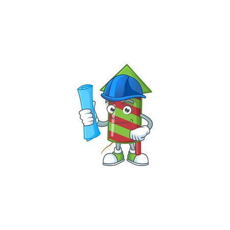 Cheerful Architect green stripes fireworks rocket cartoon style holding blue prints. Vector illustration Ilustracja