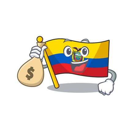Cute flag ecuador cartoon character smiley with money bag Ilustração