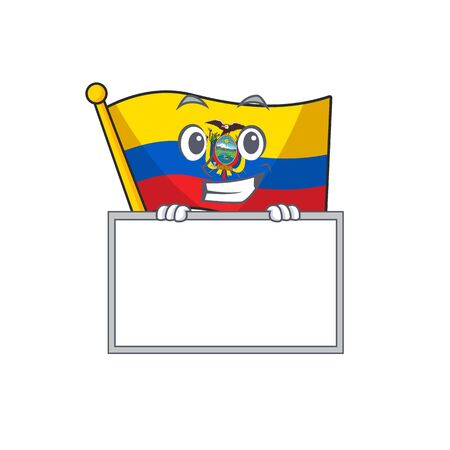 Grinning with board flag ecuador cartoon character style. Vector illustration