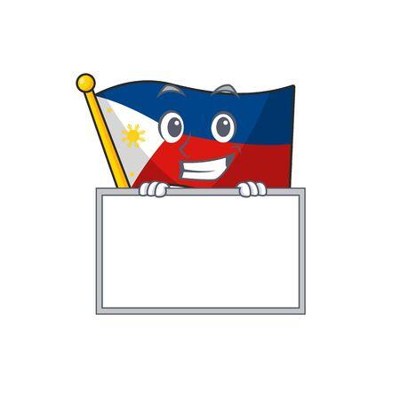 Grinning with board flag philippines cartoon character style Illusztráció