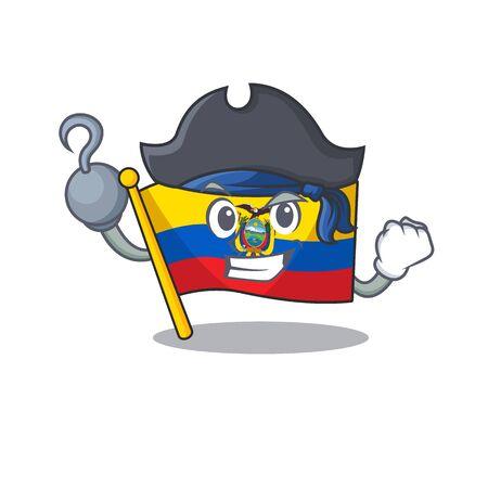 one hand Pirate flag ecuador mascot cartoon style Ilustracja