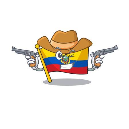Flag ecuador cartoon character as a Cowboy holding guns