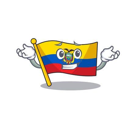 Super Cool Grinning flag ecuador mascot cartoon style. Vector illustration