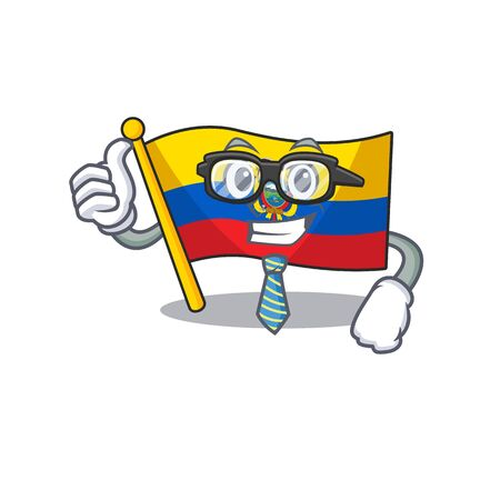 Cool Businessman flag ecuador cartoon in character