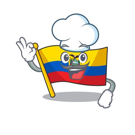 Happy Chef flag ecuador cartoon character with white hat