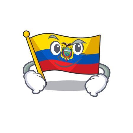Flag ecuador mascot cartoon style with Smirking face