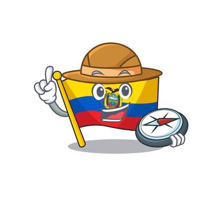 Explorer flag ecuador cartoon character holding a compass. Vector illustration