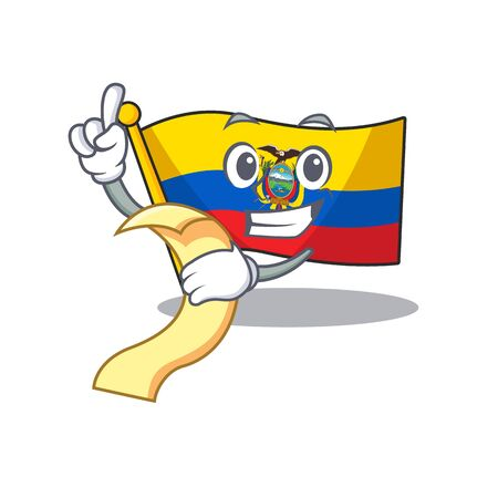 Cute flag ecuador cartoon character with menu ready to serve Illustration