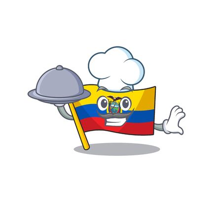 smiling flag ecuador as a Chef with food cartoon style design. Vector illustration