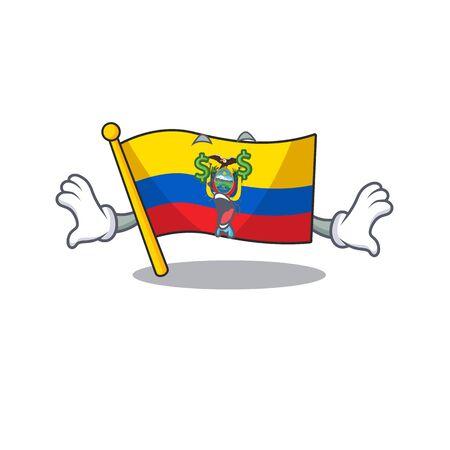 Flag ecuador with Money eye cartoon character style Illustration