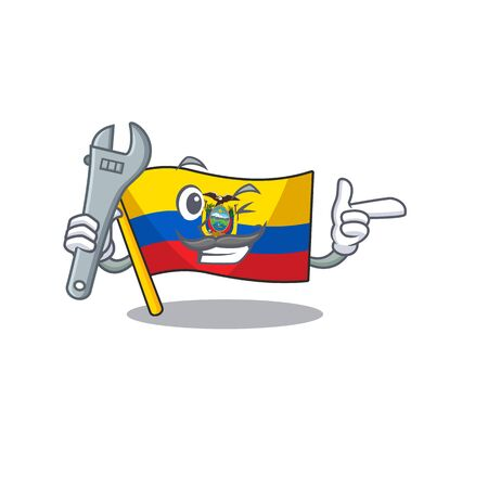 Professional Mechanic flag ecuador mascot cartoon character style. Vector illustration Ilustração