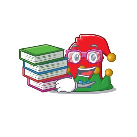 Student with book elf hat mascot cartoon character style