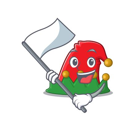 cute flag standing with elf hat cartoon character style