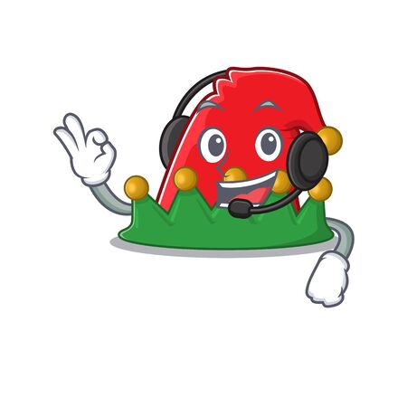 Elf hat cute cartoon character design with headphone Ilustrace