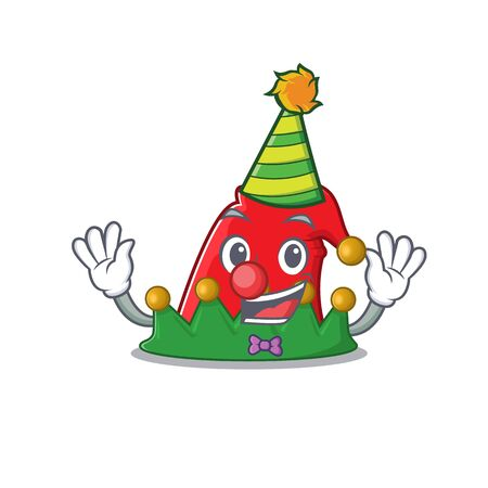 Cute Clown elf hat placed on cartoon character mascot design. Vector illustration Ilustração