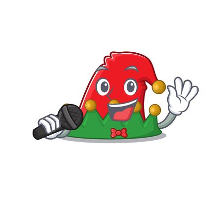 cartoon Singing elf hat while holding a microphone
