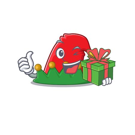 mascot cartoon of happy elf hat with gift box