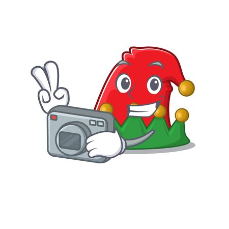 a professional Photographer elf hat cartoon character with a camera Ilustrace