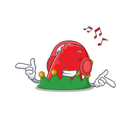Listening music elf hat mascot cartoon character design. Vector illustration Ilustração