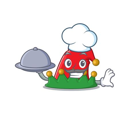 smiling elf hat as a Chef with food cartoon style design