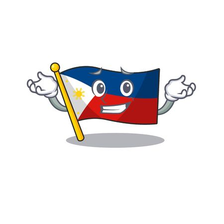 Super Cool Grinning flag philippines mascot cartoon style. Vector illustration