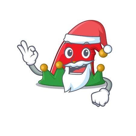 Elf hat in Santa cartoon character design. Vector illustration 일러스트