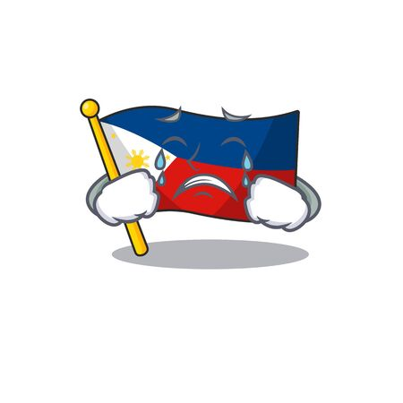 Sad Crying flag philippines mascot cartoon style