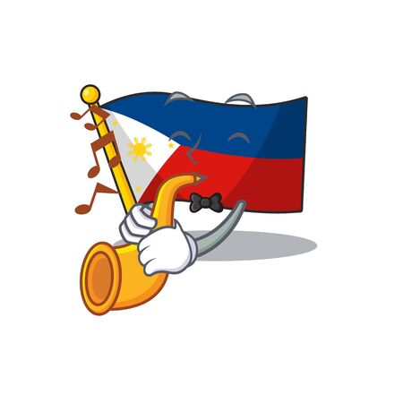 Super cool flag philippines cartoon character performance with trumpet Ilustração