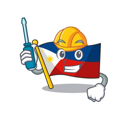 Cool automotive flag philippines presented in cartoon character style. Vector illustration