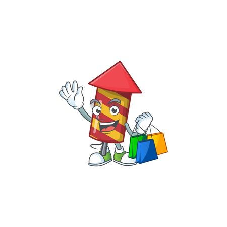 Cheerful red stripes fireworks rocket cartoon character waving and holding Shopping bags. Vector illustration