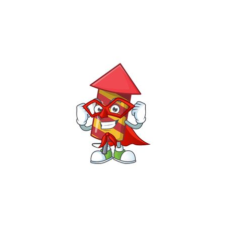 A cartoon of red stripes fireworks rocket wearing costume of Super hero