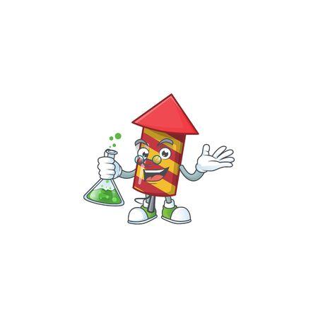 Smart Professor red stripes fireworks rocket cartoon character holding glass tube. Vector illustration Ilustração