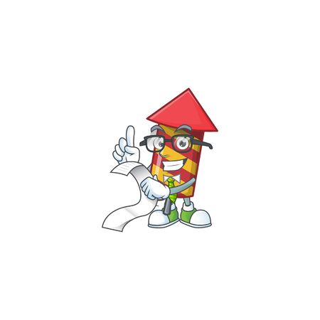Cute red stripes fireworks rocket cartoon character with menu ready to serve. Vector illustration