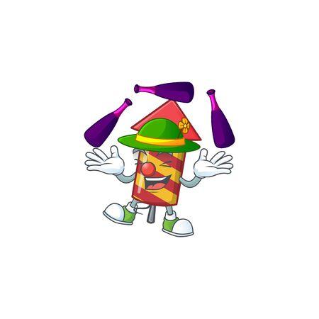 Super cool Juggling red stripes fireworks rocket mascot cartoon style. Vector illustration