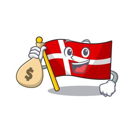 Cute flag denmark cartoon character smiley with money bag. Vector illustration