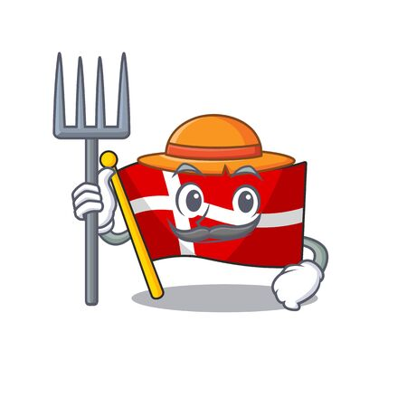 Farmer flag denmark cartoon character with hat and tools