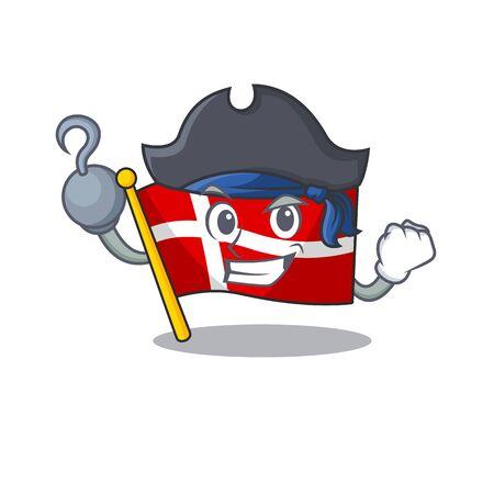 one hand Pirate flag denmark mascot cartoon style