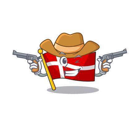 Flag denmark cartoon character as a Cowboy holding guns