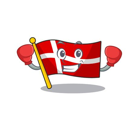 Funny Boxing flag denmark cartoon character style  イラスト・ベクター素材