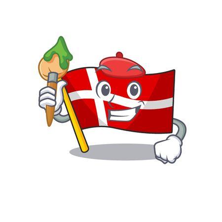 Cheerful flag denmark Artist cartoon character with brush