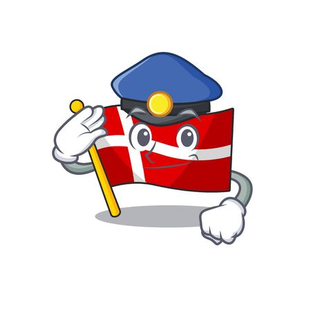Flag denmark Cartoon character dressed as a Police officer. Vector illustration  イラスト・ベクター素材